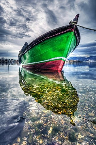 Startonight-Glass-Wall-Art-Acrylic-Decor-Colored-Green-Boat-on-Calm-Water-2362-X-3543-Inch-100-Original-Artwork-the-Ultimate-Wall-Art