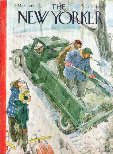 New Yorker cover Barlow sand spoils sledding 3/1 1947 ()