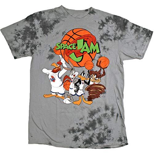 (space jam Men's Tune Squad Team Short Sleeve T-Shirt, Tye Dye Grey,)
