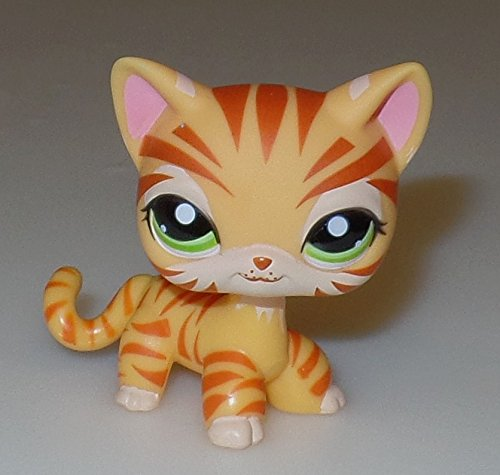 Shorthair #1451 (Gold) - Littlest Pet Shop (Retired) Collector Toy - LPS Collectible Replacement Single Figure - Loose (OOP Out of Package & Print) (Littlest Pet Shop 1451)