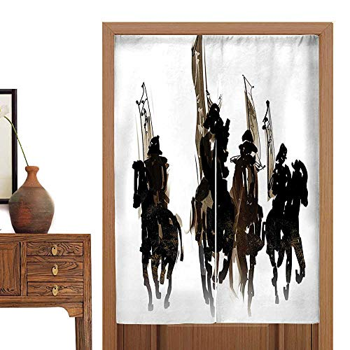 vanfan Doorway Curtain Tapestry Cavalier Army Black Hors to War Loyalty to Master Graphic Work Black Home Decoration Tapestry36 W x 66.9