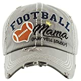 H-212-FM51 Distressed Baseball Cap Vintage Dad Hat - Football Mom (Light Grey)