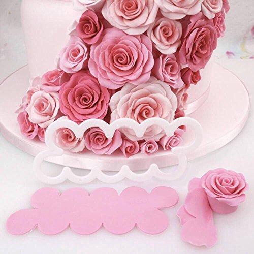 JZK 3pcs moldes de rosas pastel fondant para decoraci oacute de pasteles y tartas DIY herramienta para tarta pastel y postre decoración: Amazon.es: Hogar
