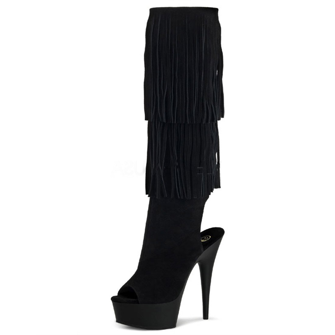 Summitfashions Fringed Knee High Black Suede Boots with Open Back Peep Toe and 6 Inch Heels B00F99RVAE 9 B(M) US