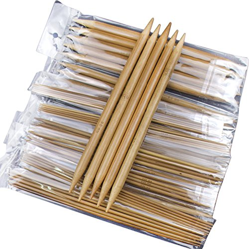 Whitelotous 75pcs 20cm Double Pointed Carbonized Bamboo Knitting Needles by Whitelotous