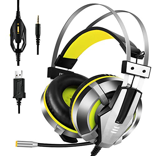 EKSA Gaming Headset for PS4, PC, Xbox One Controller, Noise Cancelling Over Ear Headphones with Mic, LED Light, Bass Surround, Soft Memory Earmuffs for Laptop Mac Nintendo Switch Games, Yellow