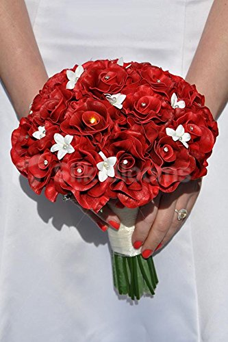 Stunning Red Rose and Stephanotis Bridal Bouquet with Crystals