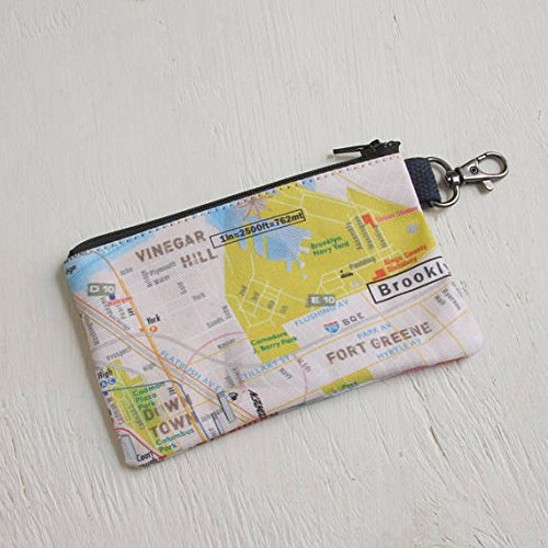 NYC, Map, Pouch, Brooklyn, Down town, Financial District, Wall street, Traveling, Michi pouch, gift, NYC gift, coin purses, Vinegar - Eyeglasses Nyc