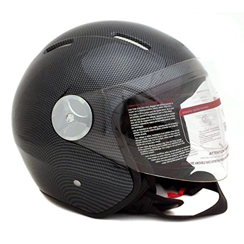 Carbon Fiber Face - Motorcycle Scooter PILOT Open Face Helmet DOT - Carbon Fiber (Large)