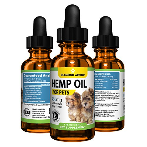 Oil Fortifying (Full Spectrum Hemp Oil Drops for Dogs and Cats (Pets) - 450mg Made in USA - Natural Joint, Coat & Skin Supplement | Relieves Pain, Stress, Separation Anxiety & Sleep Aid W/ Omega 3, 6 & 9 Oils (Mint))
