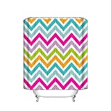 Pink and Green Striped Shower Curtain Multicolor Zig Zag Chevron Striped Geometric Pink Purple Green Shower Curtain, European Bathroom Decoration, Fancy Design, Hand-Painted Effect Fabric Shower Curtain, 66