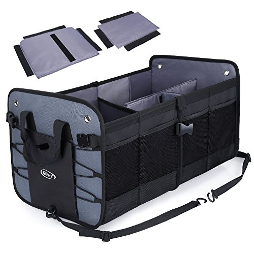 G4Free Trunk Organizer- Collapsible Auto Car & SUV Cargo Storage Container, Eco-Friendly Heavy Duty Waterproof Storage Bin and Carrier 66L for SUV, Truck, Auto, Vehicle(Black)]()