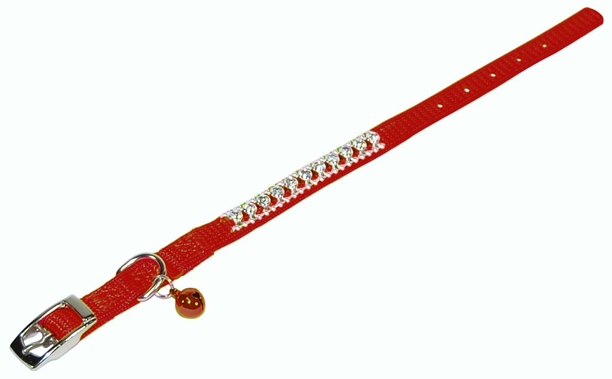 Hamilton Rhinestone Cat Series 3/8-Inch by 10-Inch Safety Cat Collar with Bell, Red