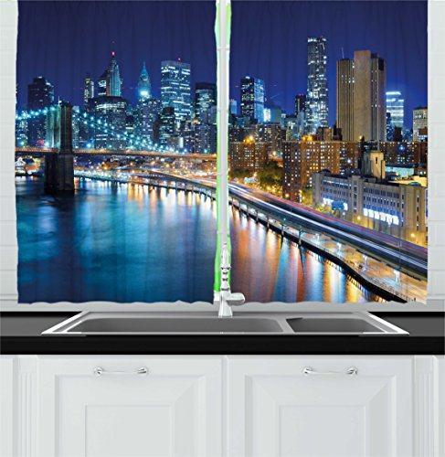 Harbour Lights New York - Ambesonne Landscape Kitchen Curtains, View of New York City Manhattan Bay Harbour at Night with Lights and Skyscrapers, Window Drapes 2 Panels Set for Kitchen Cafe, 55 W X 39 L Inches, Multicolor