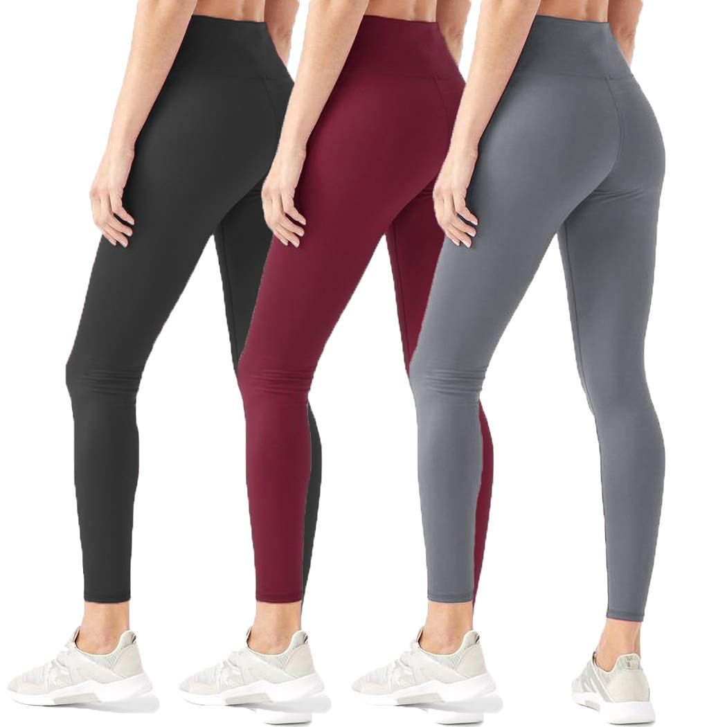 HIGHDAYS Leggings for Women High Waisted Tummy Control Opaque Slim Soft Pants for Cycling, Yoga, Running (One Size, 3 Pairs (Black+Burgundy+Gray)) by HIGHDAYS