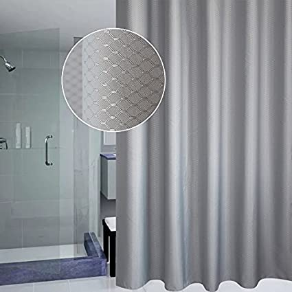 UFRIDAY Honeycomb Stall Shower Curtain 36 By 72 Solid Gray Cloth Curtains
