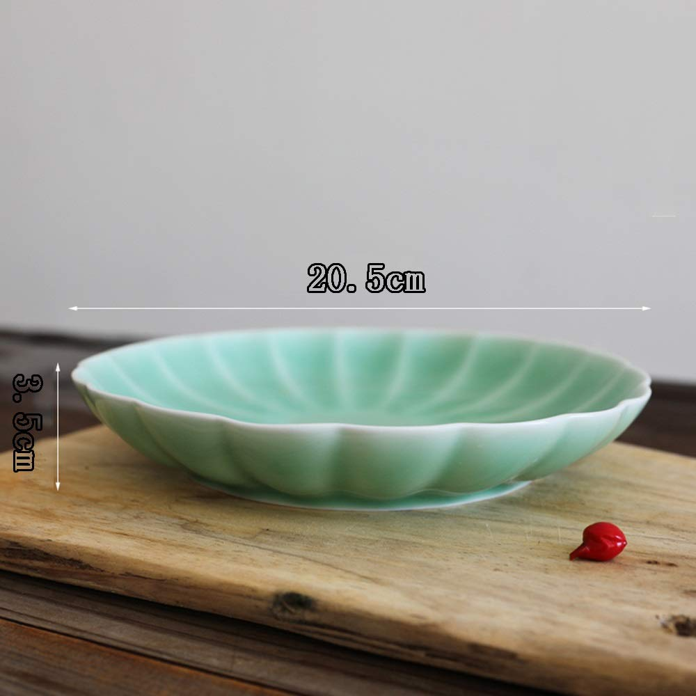 Celadon Dish Household 8 Inch Ceramic Household Dish Creative Personality Fruit Plate Dish (Design : B) by Porcelain plate (Image #4)