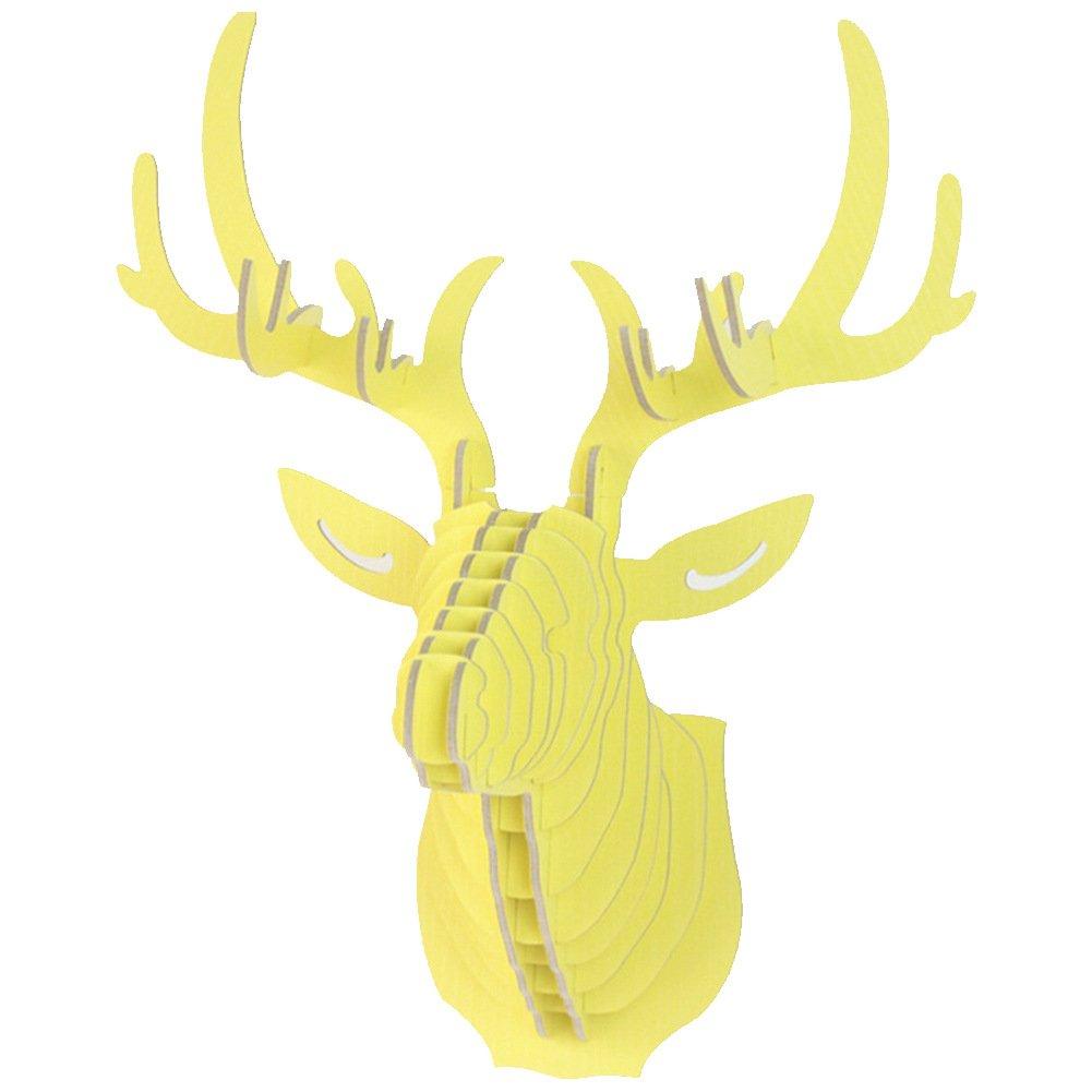 Amazon.com: Neeior DIY 3D Wooden Deer Head Puzzle Wall-mounted Wood ...