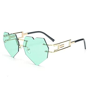 4ffe2b2163 MINCL Womens Designer Cute Rimless Love Heart Shaped Sunglasses  (gold-green)  Amazon.co.uk  Clothing