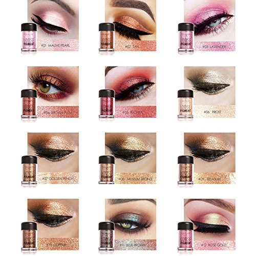 12pcs/set Pro Makeup Glitter Eyeshadow Shimmer Pigment Loose