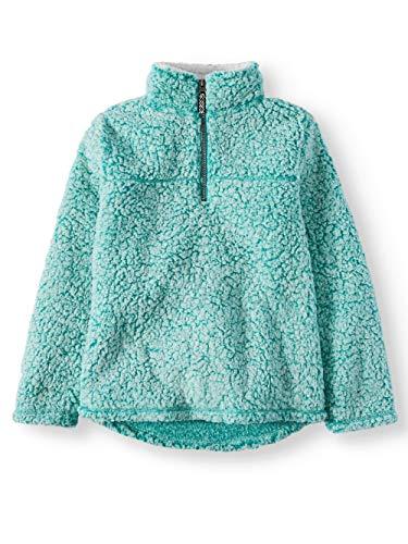 Wonder Nation Girls Quarter Zip Sherpa Pullover (Small 6/6x, Aqua Frost)