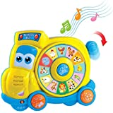 Happkid Preschool Spinning Learning School Bus, Animal Learning Toys with Realistic Sounds and Quiz Mode