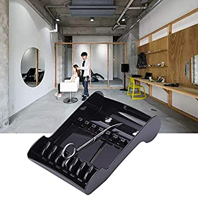 Professional ABS Salon Scissors Holder Racks, Barber Shop Shears Stand Organizer Storage Tray Keeper with 2 Suckers,Available for 6 Scissors,Suitable for Hairdressers Hair Stylist-Black
