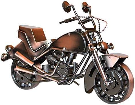 レトロなオートバイの装飾品の錬鉄製のオートバイモデル装飾ジュエリー装飾品ホームクラフト、ギフト (Color : Brass, Size : 26*8*15cm)