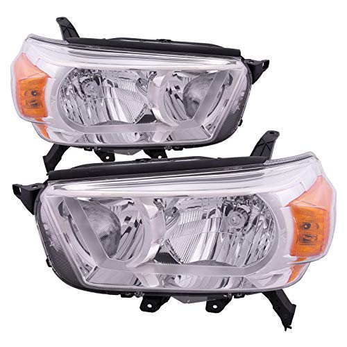 HEADLIGHTSDEPOT Chrome Housing Halogen Headlights Compatible with Toyota 4Runner 2010-2013 Limited SR5 Model without Trail Package Includes Left Driver and Right Passenger Side Headlamps