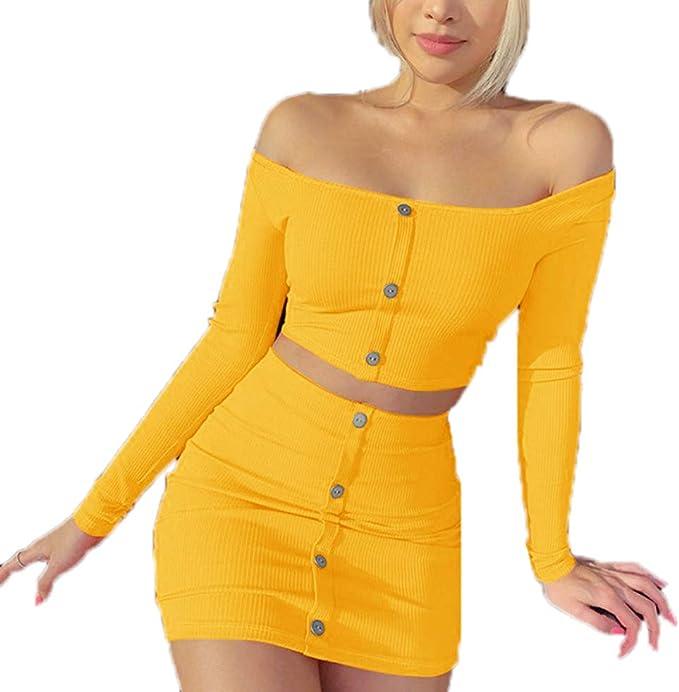 Conjuntos para Mujer, Color Sólido Slim Fit Camisa Crop Top + Mini ...