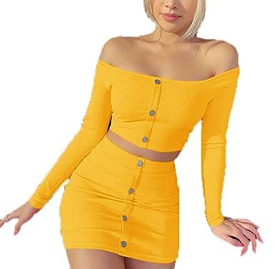 2 Piezas Conjunto Mujer - Mini Falda y Manga Larga Crop Top Camisa ...