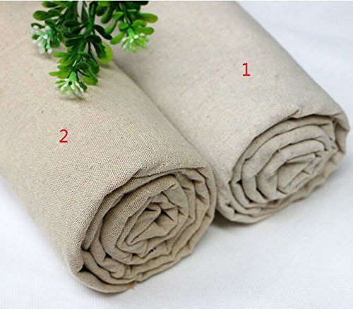 LOVOUS 100% Nature Linen Needlework Fabric, Plain Solid Colour Linen Fabric Cloth Hemp Jute Fabric Table Cloth Garments Crafts Accessories, 20 by 62-Inch (Color 1)