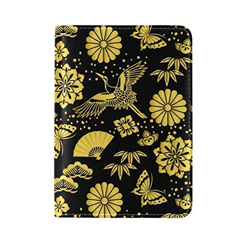 COOSUN Golden Powder und japanische Krane Leder Passhülle Cover für Travel One Pocket