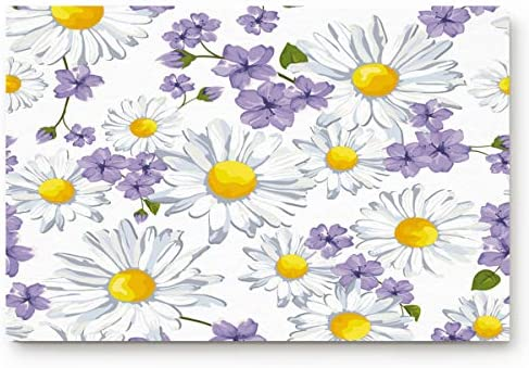 Fantasy Star Indoor Door Mats for Front Door Entrance Way White Daisy and Purple Lilac Flower Doormat Shoes Scraper Dirt Debris Mud Trapper Patio Rugs Low Profile Washable Carpet 20 x 31.5