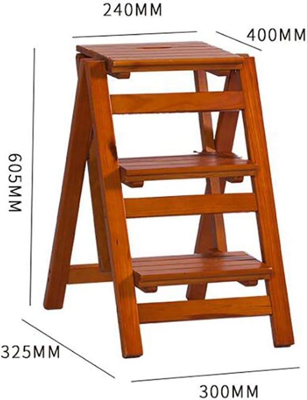 CXY-JOEL Hocker mit Fußstütze, Blumentür aus Massivholz, zusammenklappbar, Leiter aus Holz, multifunktional, für Innenräume, Treppensteig, kleine Anlässe D