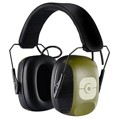 Homitt Electronic Noise Reduction Earmuff, Safety Hearing Protection Headphones with AUX Jack and Active Hunting Protection Equipment for Hunting, Shooting, Mowing Lawn and Listen to Music- Green