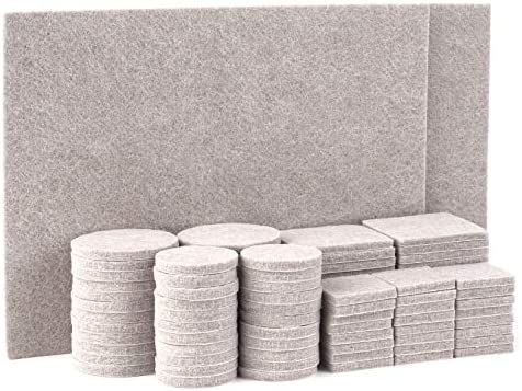 TYEERS Furniture Pads Felt Furniture Pads Hardwood Floor Protectors Non-Slip Furniture Pads Chair Leg Floor Protector Under Furniture Pads 98 PCS - Beige