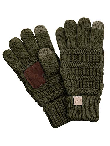 s Cable Knit Warm Anti-Slip Touchscreen Texting Gloves, Dark Olive ()