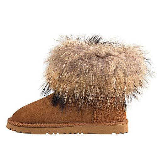 Clásicos de Invierno Mujer Interno Nieve Shenduo de con D8751 Botas para Lana Zapatos Castaña Piel EBnwwqY