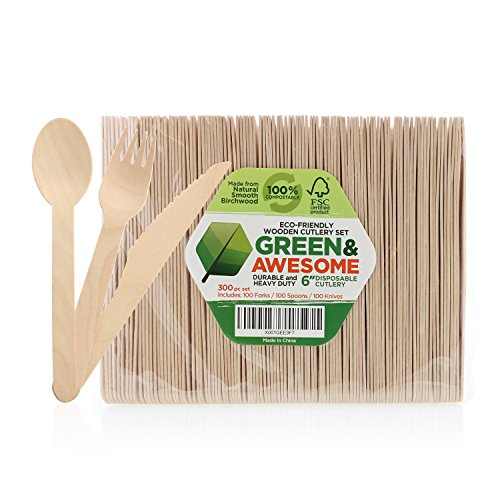 Eco Friendly Utensils - Disposable Wooden Cutlery Set - 300 pc,100 Forks, 100 Spoons, 100 Knives, 6