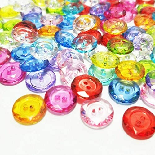 Yitang の2穴透明ミックス色11MMプラスチックのボタン100PCSアパレル縫製アクセサリーDIYスクラップブッキング服、装飾、トリミング、フェスティバル、Scrafs