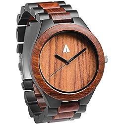 Treehut Men's Redwood Wooden Black Stainless Steel Watch Quartz Analog with Q...