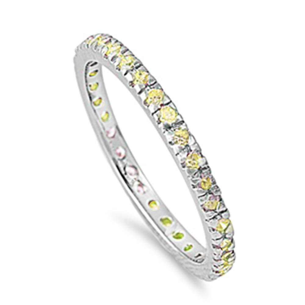 Oxford Diamond Co Sterling Silver Yellow Cubic Zirconia Stackable Eternity Birthstone Band Ring Sizes 8