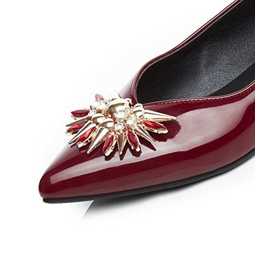 AllhqFashion Damen PU Rein Ziehen auf Spitz Zehe Niedriger Absatz Pumps Schuhe Rot