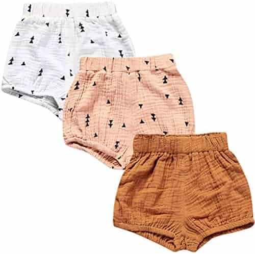 4897c2d51 JELEUON 3 Pack of Little Baby Girls Boys Cotton Linen Blend Cute Bloomer  Shorts