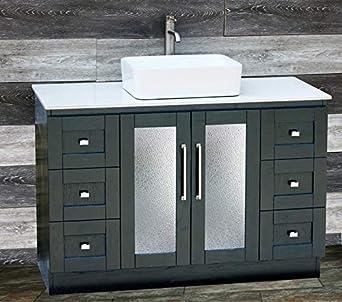Solid Wood 48 Bathroom Vanity Cabinet Glass Vessel Sink Faucet Mg
