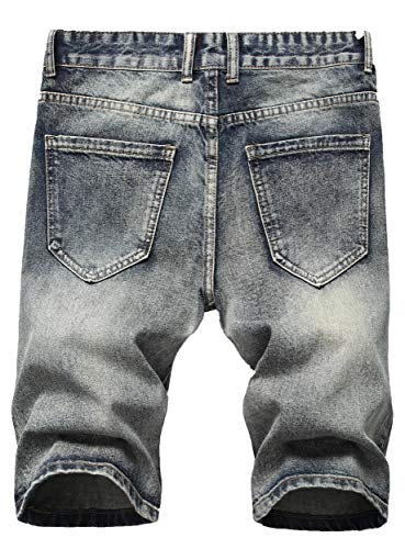 Sarriben Men's Casual Summer Distressed Button up Stretch Ripped Jeans Shorts with Repair Rips