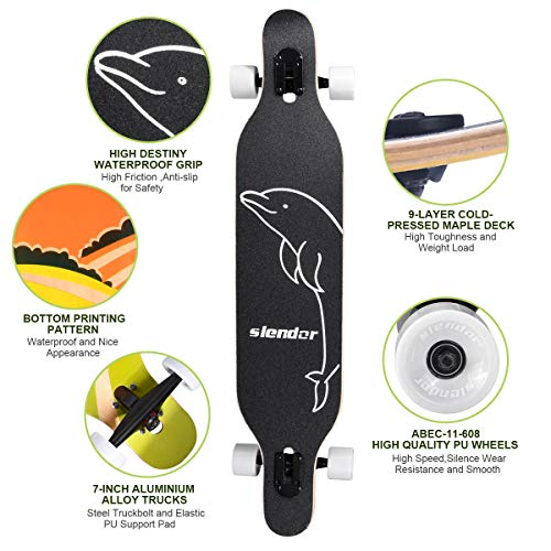 Slendor Longboard Skateboard 42 inch Drop Through Deck Complete Maple Cruiser Freestyle Camber Concave
