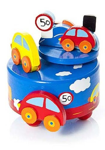 Mousehouse Gifts Boys' Car Themed Wooden Music Box Blue