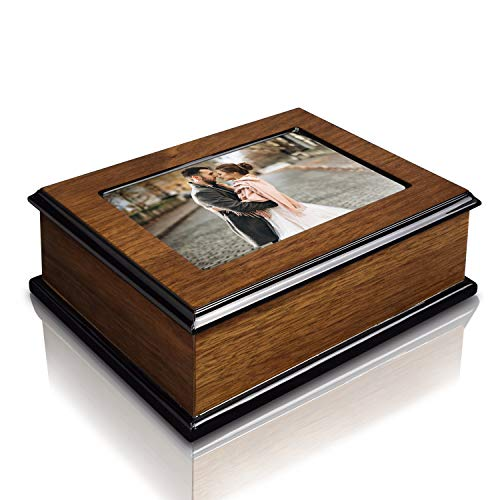 (Ikee Design Wooden Glossy Musical Jewelry Box with 4x6 Photo Frame)